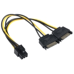 2 x SATA 15 Pin Male to Graphics Card PCI-e PCIE 6 Pin Female Video Card Power Supply Cable