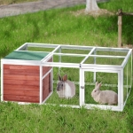 [US Warehouse] Rabbit Playpen Chicken Coop Pet House with Enclosed Run, Size: 61.8 inch