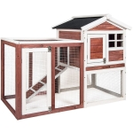 [US Warehouse] Natural Wood House Pet Supplies Small Animals House, Size: 48.4×24.8×35.8 inch (Auburn and White)