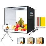PULUZ 40cm Folding Portable Ring Light USB Photo Lighting Studio Shooting Tent Box with 6 x Dual-side Color Backdrops, Size: 40cm x 40cm x 40cm (Black)