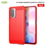 For Xiaomi Redmi K40 / K40 Pro / K40 Pro+ / Poco F3 MOFI Gentleness Series Brushed Texture Carbon Fiber Soft TPU Case(Red)