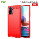 For Xiaomi Redmi Note 10 / Note 10S MOFI Gentleness Series Brushed Texture Carbon Fiber Soft TPU Case(Red)