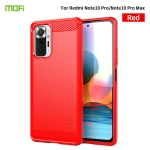 For Xiaomi Redmi Note 10 Pro / Note 10 Pro Max MOFI Gentleness Series Brushed Texture Carbon Fiber Soft TPU Case(Red)