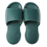 Summer Super Thick Soft Bottom Plastic Slippers Men Indoor Defensive Household Bath Slippers, Size:42-43(Dark Green)