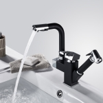Kitchen Pull-Out Double Faucet Water Table Hot And Cold Water Faucet, Specification: Cube Spray Pull