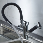 Kitchen Pull-Out Double Faucet Water Table Hot And Cold Water Faucet, Specification: Round Universal Distortion