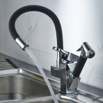 Kitchen Pull-Out Double Faucet Water Table Hot And Cold Water Faucet, Specification: Cube Universal Distortion