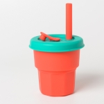 Children Silicone Straw Cups Drop And High Temperature Resistant Water Cups Red Cup + Green Cover(400ml)