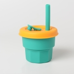 Children Silicone Straw Cups Drop And High Temperature Resistant Water Cups Green Cup + Yellow Cover(300ml)