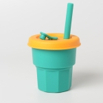 Children Silicone Straw Cups Drop And High Temperature Resistant Water Cups Green Cup + Yellow Cover(400ml)