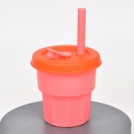 Children Silicone Straw Cups Drop And High Temperature Resistant Water Cups Cherry Blossom Pink Cup + Orange Cover(400ml)