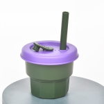 Children Silicone Straw Cups Drop And High Temperature Resistant Water Cups Ink Green Cup + Purple Cover(300ml)