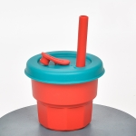 Children Silicone Straw Cups Drop And High Temperature Resistant Water Cups Dark Red Cup + Olive Green Cover(300ml)