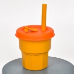 Children Silicone Straw Cups Drop And High Temperature Resistant Water Cups Ginger Cup + Orange Cover(400ml)