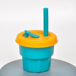 Children Silicone Straw Cups Drop And High Temperature Resistant Water Cups Olive Green Cup + Turmeric Cover(300ml)