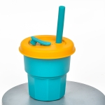 Children Silicone Straw Cups Drop And High Temperature Resistant Water Cups Olive Green Cup + Turmeric Cover(400ml)