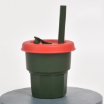 Children Silicone Straw Cups Drop And High Temperature Resistant Water Cups Ink Green Cup + Dark Red Cover(400ml)