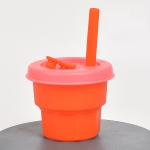 Children Silicone Straw Cups Drop And High Temperature Resistant Water Cups Orange Cup + Cherry Blossom Pink Cover(300ml)