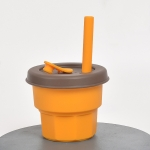 Children Silicone Straw Cups Drop And High Temperature Resistant Water Cups Turmeric Cup+Brown Cover(300ml)