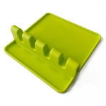 2 PCS Silicone Spoon Holder Kitchen Utensils Anti-Fouling Mat Drain Rack 4 Slot(Green)