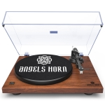 [US Warehouse] Wooden Retro Record Player Vintage Stereo Turntable with Built-in Phono Preamp and Belt Drive for Vinyl Records
