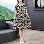 Cotton Silk Floral Skirt Short Sleeve Loose Dress (M)