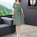 Ladies Loose And Thin Retro Art Dress (Color:Green Size:S)