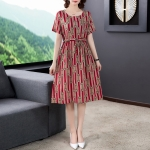 Ladies Loose And Thin Retro Art Dress (Color:Red Size:M)