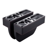 Car Multi-functional Console PU Leather Box Cup Holder Seat Gap Side Storage Box (Black)