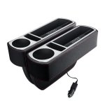 Car Multi-functional Wireless Fast Charge Console PU Leather Box Cup Holder Seat Gap Side Storage Box (Black)
