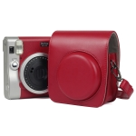 Solid Color PU Camera Bag with Shoulder Strap for Fujifilm Instax mini 90(Red)
