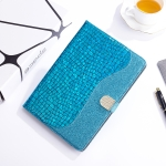 Laser Glitter Stitching Crocodile Texture Horizontal Flip Leather Case with Storage Grid & Holder For iPad Air (2020) (Blue)