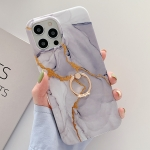 Golden Powder Dream Color Marble Pattern TPU Protective Case with Ring Stand For iPhone 11 Pro Max(Grey)