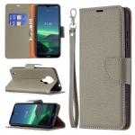 For Nokia 1.4 Litchi Texture Pure Color Horizontal Flip Leather Case with Holder & Card Slots & Wallet & Lanyard(Grey)