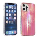 Aurora Cloud Plating Gold Edge Double-Side IMD Pattern TPU Shockproof Case For iPhone 12 mini(Pink Orange Sunset)