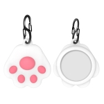 Q18 Cute Cat Paw Silicone Shockproof Protective Cover Soft Case with Carabiner For AirTag(Pink)