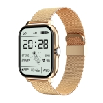 GT20 1.69 inch TFT Screen IP67 Waterproof Smart Watch, Support Music Control / Bluetooth Call / Heart Rate Monitoring / Blood Pressure Monitoring, Style:Steel Strap(Gold)
