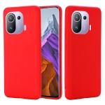 For Xiaomi Mi 11 Pro Solid Color Liquid Silicone Dropproof Full Coverage Protective Case(Red)