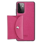 For Samsung Galaxy A72 5G ViLi T Series TPU + PU Woven Fabric Magnetic Protective Case with Wallet(Rose Red)
