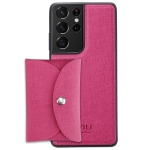 For Samsung Galaxy S21 Ultra 5G ViLi T Series TPU + PU Woven Fabric Magnetic Protective Case with Wallet(Rose Red)