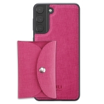 For Samsung Galaxy S21+ 5G ViLi T Series TPU + PU Woven Fabric Magnetic Protective Case with Wallet(Rose Red)