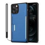 Armor Shockproof TPU + PC Hard Case with Card Slot Holder Funtion For iPhone 12 / 12 Pro(Black Blue)