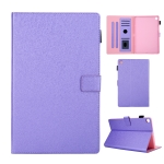 Hair Silky Texture Solid Color Horizontal Flip Leather Case with Holder & Card Slots & Photo Frame & Anti-Skid Strip For Samsung Galaxy Tab A 10.1 (2019) T510 / T515(Purple)