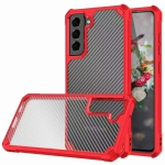 Carbon Fiber Acrylic Shockproof Protective Case For Samsung Galaxy S21+ 5G(Red)