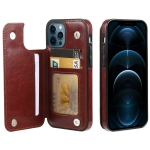 FLOVEME Crazy Horse Texture Horizontal Flip Leather Protective Case with Card Slots & Holder For iPhone 12 Pro Max(Brown)