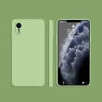 Solid Color Imitation Liquid Silicone Straight Edge Dropproof Full Coverage Protective Case For iPhone XR(Matcha Green)