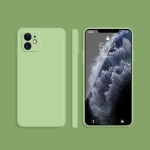 Solid Color Imitation Liquid Silicone Straight Edge Dropproof Full Coverage Protective Case For iPhone 11(Matcha Green)