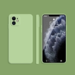 Solid Color Imitation Liquid Silicone Straight Edge Dropproof Full Coverage Protective Case For iPhone 12(Matcha Green)