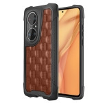 For Huawei P50 Pro 3D Embossed PU + PC + TPU Skidproof Shockproof Case(Brown)