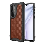 For Huawei P50 3D Embossed PU + PC + TPU Skidproof Shockproof Case(Brown)